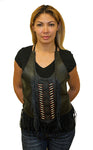 Women Black Top with Beads, Bone, Braid, and Fringe