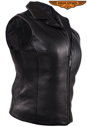 Women Plain Vest With Classic Style Collar