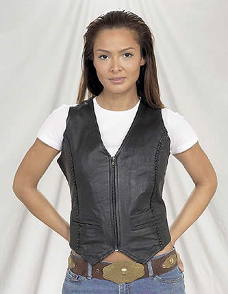Womens Vest With Braid On Front & Back