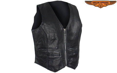 Womens Classic Leather Vest