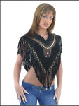 Womens Stylish Leather Poncho