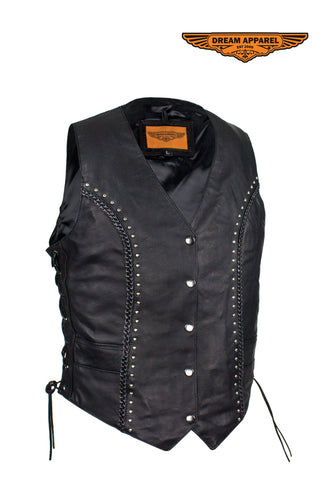 Womens Studded Naked Cowhide Leather Motorcycle Vest W/ Concealed Gun Pockets and Snaps