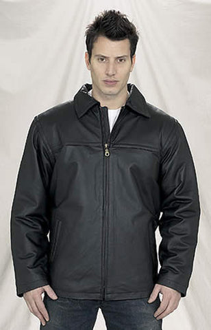 Mens Black Zippered Leather Jacket