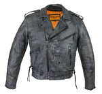 Men's Gray Motorcycle Jacket With Gun Pockets
