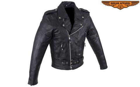 Men's Classic Motorcycle Jacket with Quilted Lining