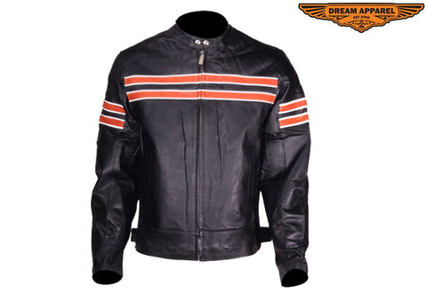 Mens Orange Striped Racing Motorcycle Jacket