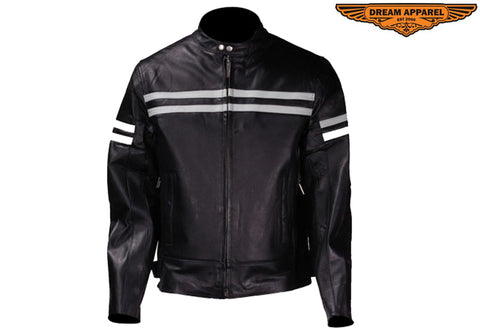 Mens Silver Striped Racing Motorcycle Jacket