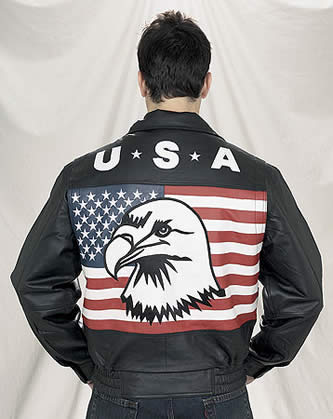 USA Flag Leather Motorcycle Jacket With Eagle