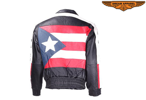 Leather Motorcycle Jacket With Puerto Rico Flag