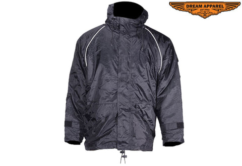Mens Black Textile Jacket With Hood