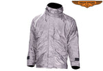 Mens Grey Textile Jacket With Hood
