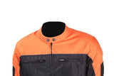 Mens Black and Orange Mesh and Nylon Motorcycle Jacket