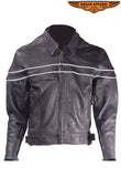 Mens Leather Racer Motorcycle Jacket With Reflective Piping