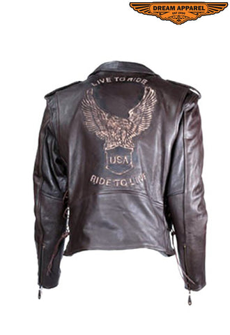 Mens Retro Brown Motorcycle Jacket With Eagle