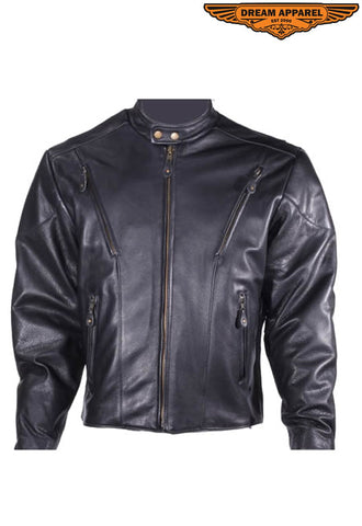 Mens Leather Racer Style Jacket