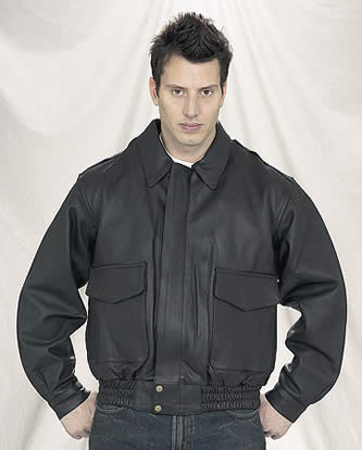 Mens Black Leather Bomber Jacket