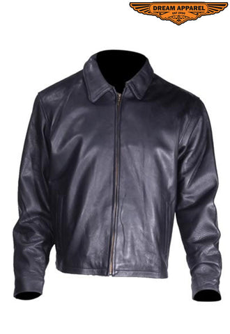 Mens Leather Fashion Jacket With Zippers on Sides