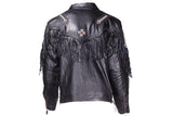 Mens White & Brown Beads Arrow Work Leather Jacket