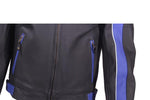 Mens Blue Racer Jacket With Reflective piping