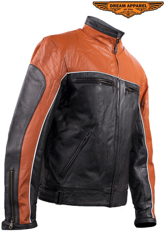 Mens Black & Orange Racer Jacket With Reflective Piping