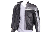 Mens Black and Silver Racer Leather Motorcycle Jacket