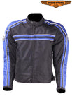 Men's Black Lightweight Textile Jacket W/ Blue Striped Design