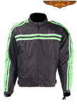 Men's Black Lightweight Textile Jacket W/ Green Striped Design