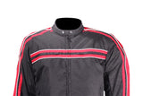 Men's Black Lightweight Textile Jacket W/ Red Striped Design