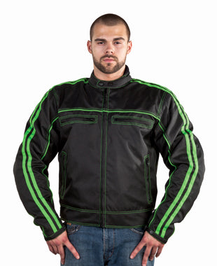 Men's Black Lightweight Textile Jacket W/ Green Stripes