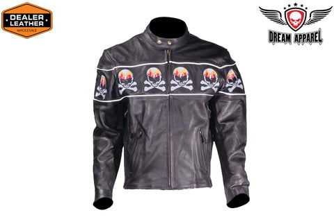Motorcycle Leather Jacket With Skulls
