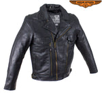 Mens Leather Racer Style Motorcycle Jacket