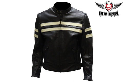 Mens Leather Jacket With Silver Stripes