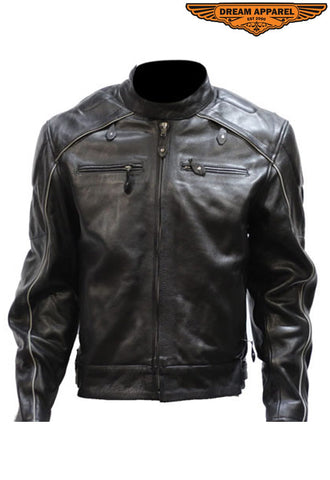 Mens Leather Jacket With Racer Collar