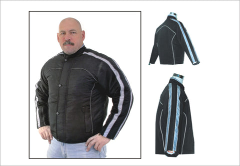 Mens Racer Style Jacket with Silver Stripes