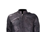Mens Leather Racer Jacket With Racer Collar
