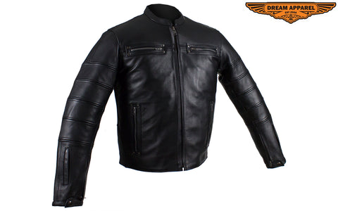 Black Pleated Leather Jacket with Concealed Carry Pockets