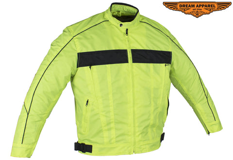 Men's Fluorescent Water Resistant Jacket with Reflective Piping