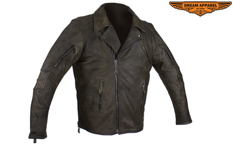 Distressed Brown Racer Jacket with Extra-Large Gun Pockets