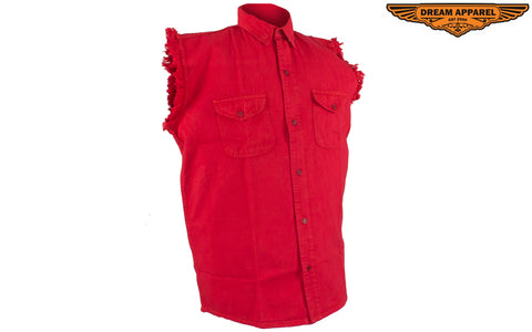 Mens Denim Red Sleeveless