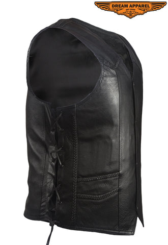 Men's Leather Vest With Braid