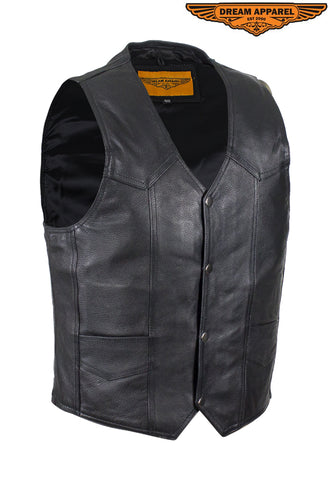 Mens Plain Black Leather Vest