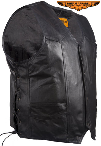Mens Leather Vest With Gun Pocket & Side Laces
