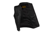 Mens Leather Club Vest With Gun Pocket & Hidden Pockets