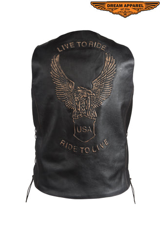 Mens Retro Black Leather Vest With USA Eagle Embossed