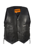 Mens Plain Leather Motorcycle Vest