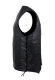Mens Plain Leather Vest With Zipper Front