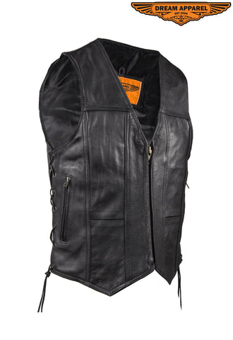 Mens Plain Leather Vest With Gun Pocket