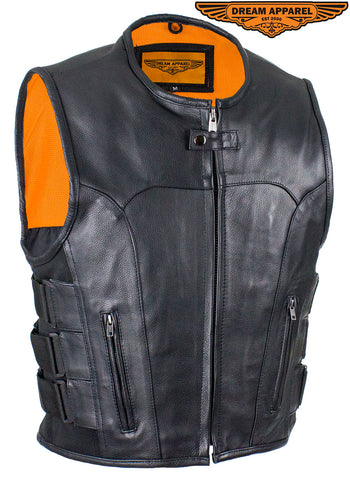 Men's Black Leather Vest with Neoprene Sides