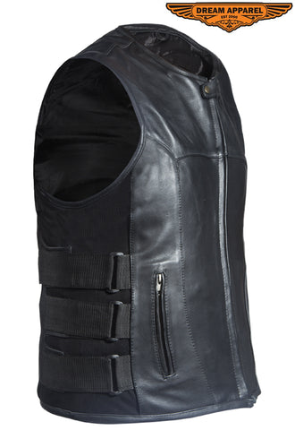 Mens Leather Vest With Velcro Straps