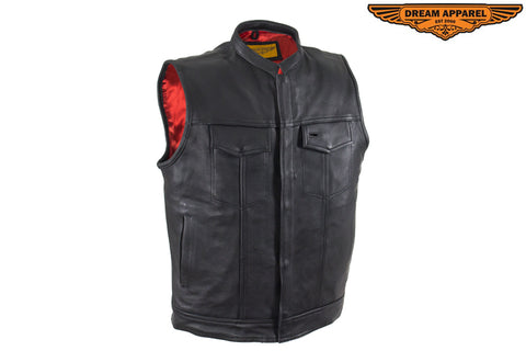 Mens Motorcycle Leather Club Vest With Red Liner